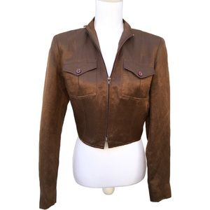 Finity Brown Silk Cropped Cardigan Jacket Womens 6